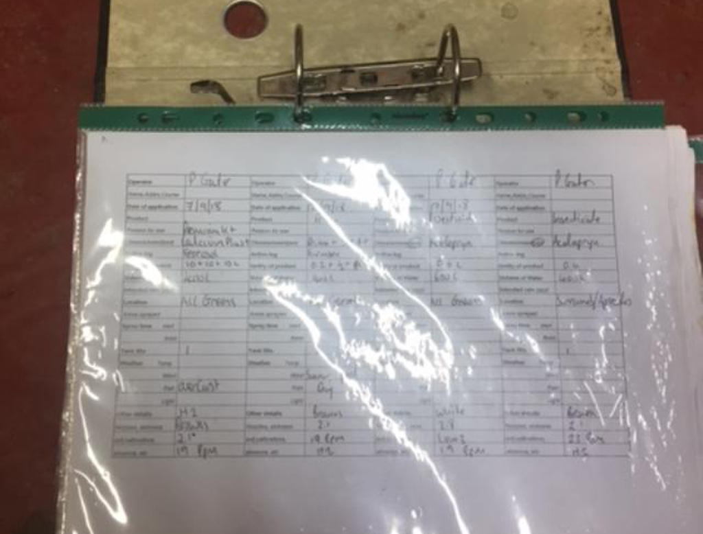 Caldy GC spray recording sheets