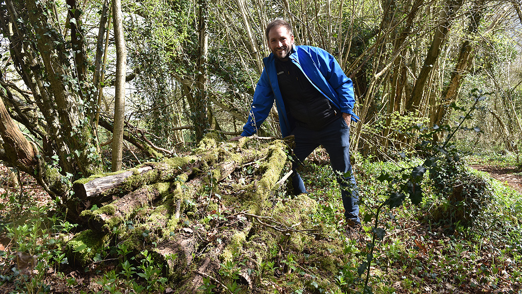 Duncan Brown with log piles left for ecological benefit
