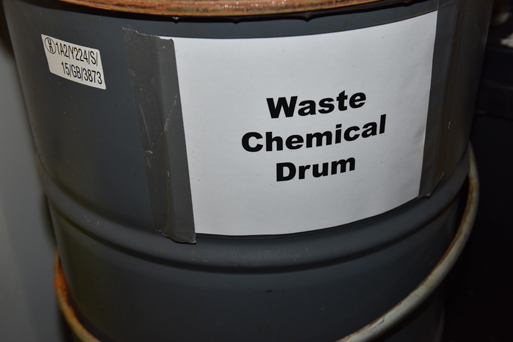 Designated secure storage for waste chemical in the bunded chemical store