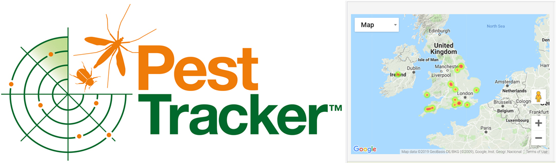 Pest Tracker logo and heat map