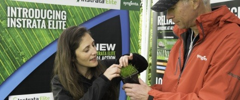 Marcela Munoz and Rod Burke at Turf Science Live Instrata Elite launch