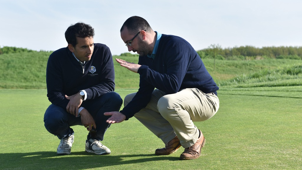 Alejandro Reyes and Daniel Lightfoot talk turf at Le Golf National