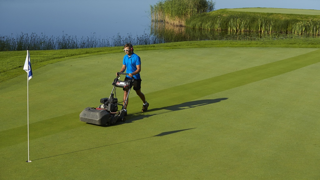 Hand mowing greens